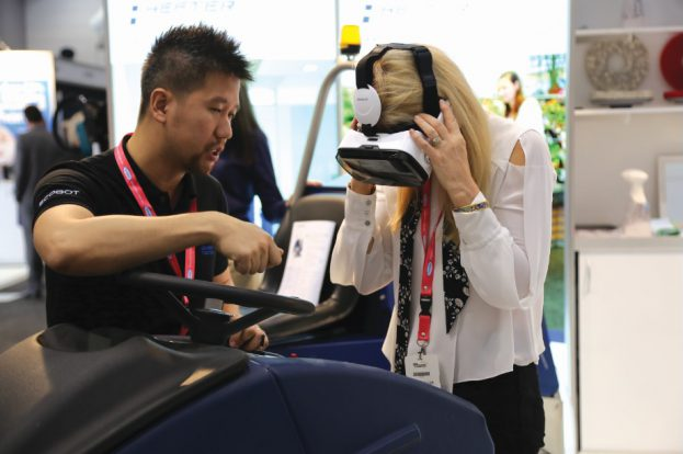 Clearlink's VR training technology live in action at the ISSA Cleaning & Hygiene Expo in Sydney